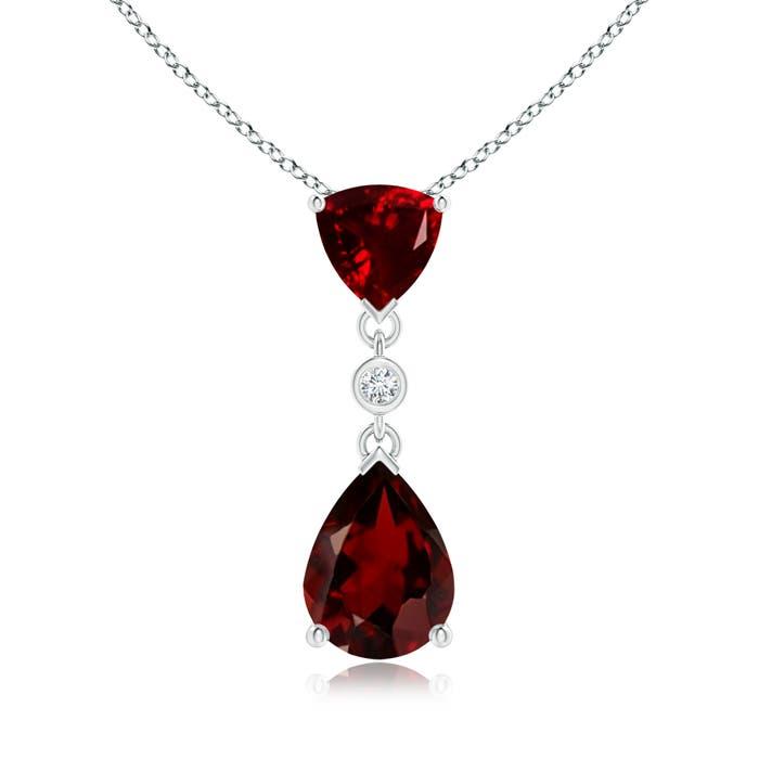 Trillion and Pear Garnet Drop Pendant with Diamond - Angara.com