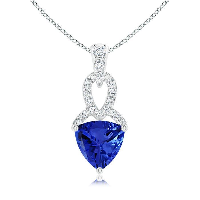 Solitaire Trillion Tanzanite Dangle Pendant with Diamond Accents - Angara.com