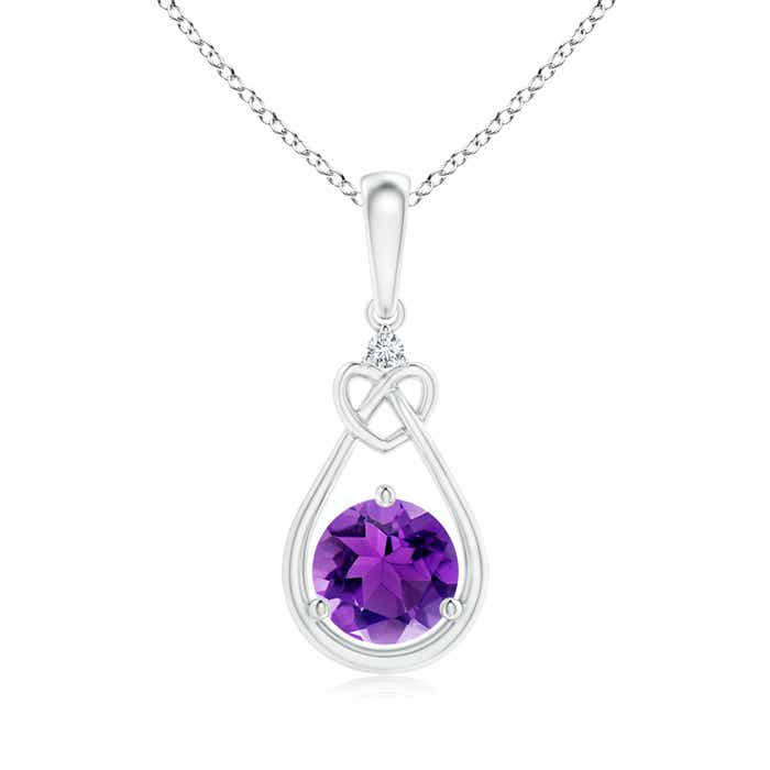 Floating Drop Amethyst Knotted Heart Necklace with Diamond - Angara.com