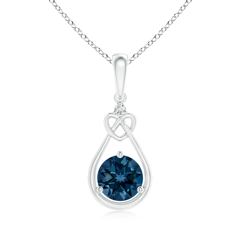 Angara London Blue Topaz Infinity Pendant with Diamond X Motif Q0g3kH1Zqs
