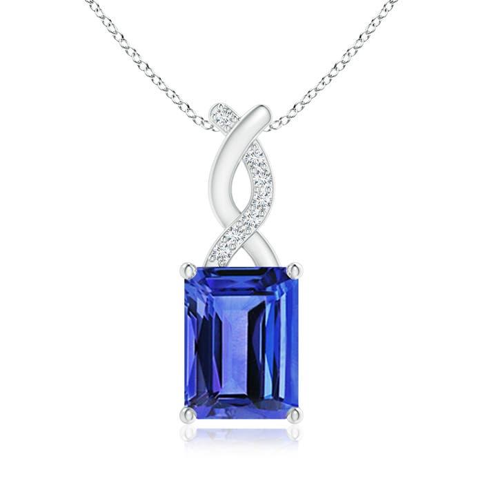 Emerald Cut Tanzanite Solitaire Pendant with Diamond Entwined Bale - Angara.com