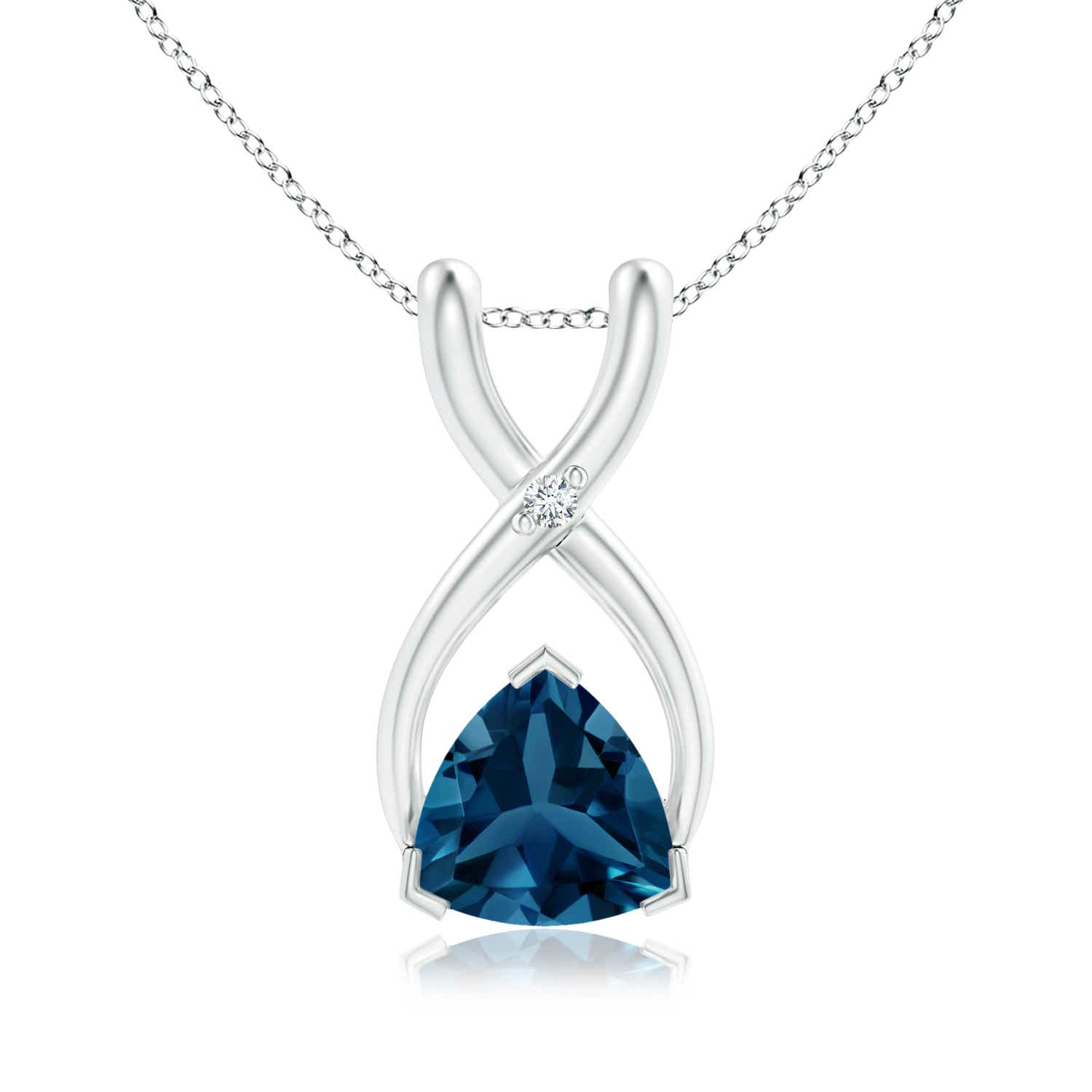 London blue topaz pendant necklace with diamond 14k yellow gold 18 london blue topaz pendant necklace with diamond 14k aloadofball Images