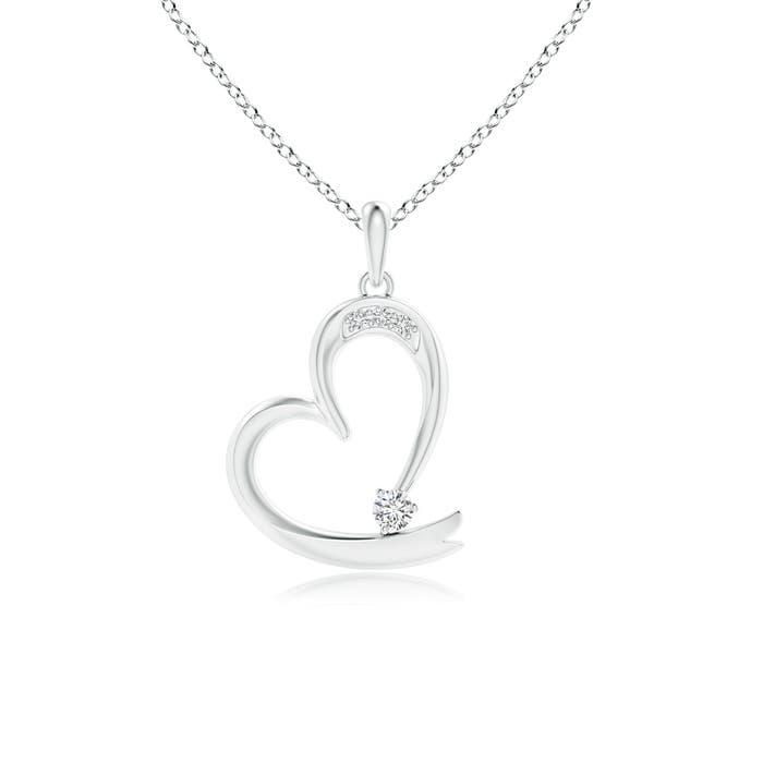 Round Diamond Tilted Ribbon Heart Dangle Pendant - Angara.com