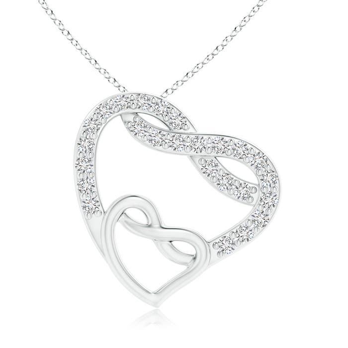 Eternal Diamond Open Twin Heart Necklace - Angara.com