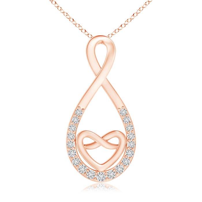 Prong-Set Diamond Knotted Infinity Heart Pendant - Angara.com
