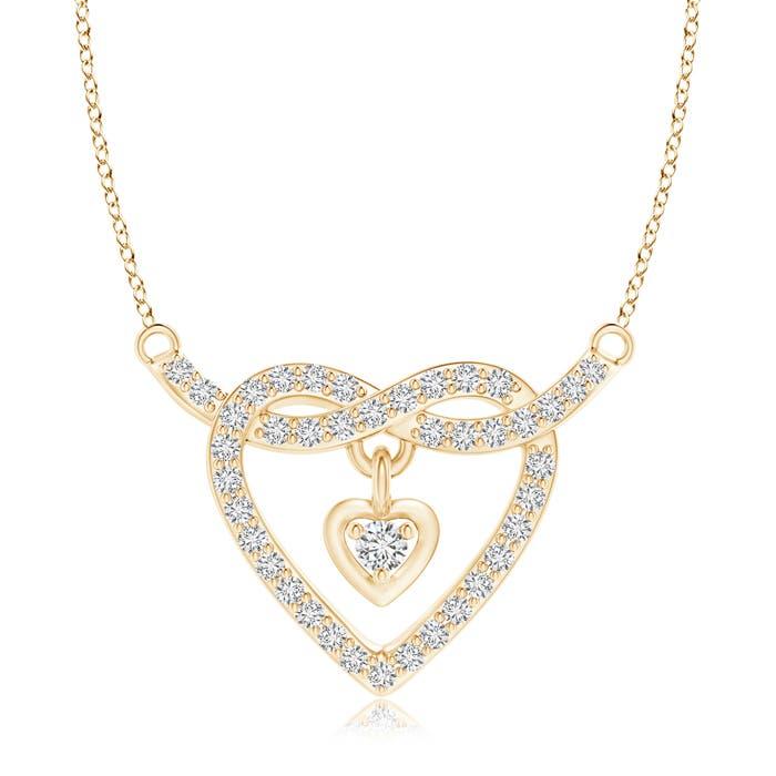 Solitaire Heart Dangle Diamond Pretzel Knot Pendant - Angara.com