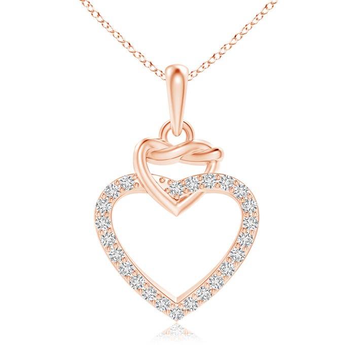Round Diamond Interlocking Heart Dangle Pendant - Angara.com