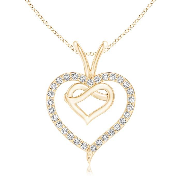 Prong-Set Diamond Concentric Heart Pendant - Angara.com