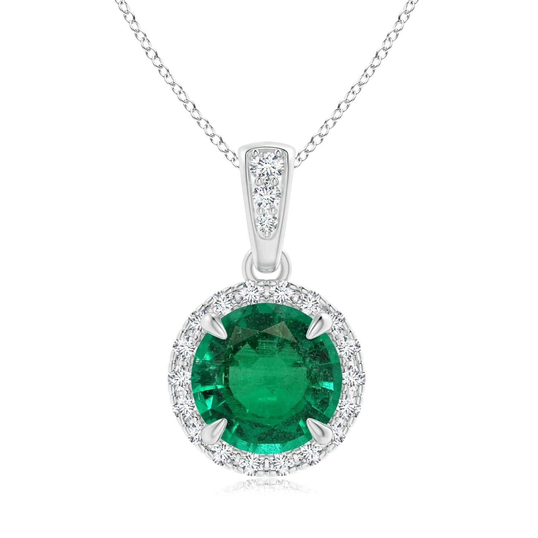 Emerald and Diamond Halo Dangle Pendant (GIA Certified Emerald) - Angara.com