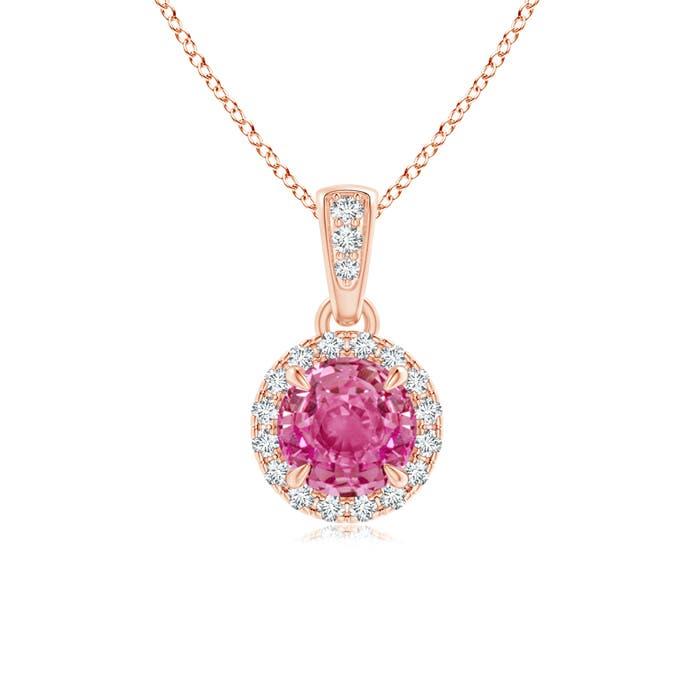 Angara Round Pink Sapphire Pendant with Diamonds EIrQR