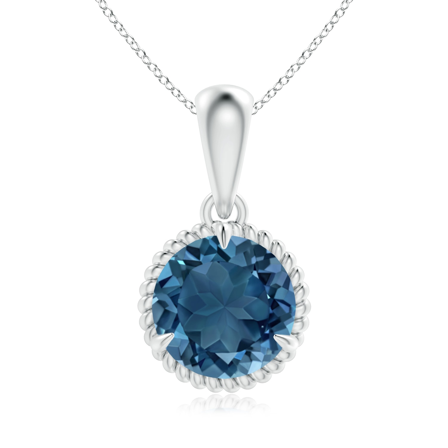 Angara Claw-Set Round London Blue Topaz Pendant with Diamond Halo