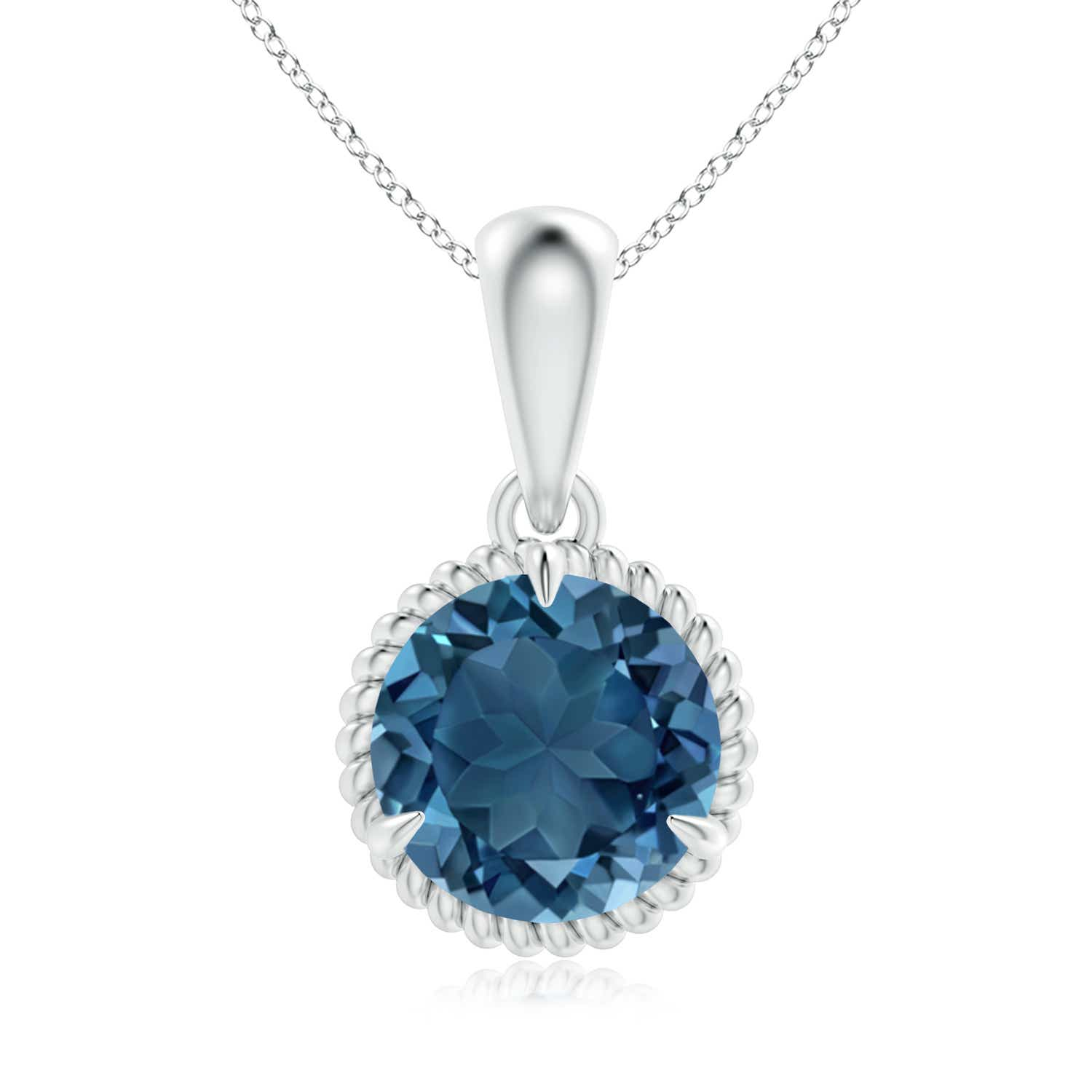 Angara Claw-Set Round London Blue Topaz Pendant with Diamond Halo YKZQ20vgQ