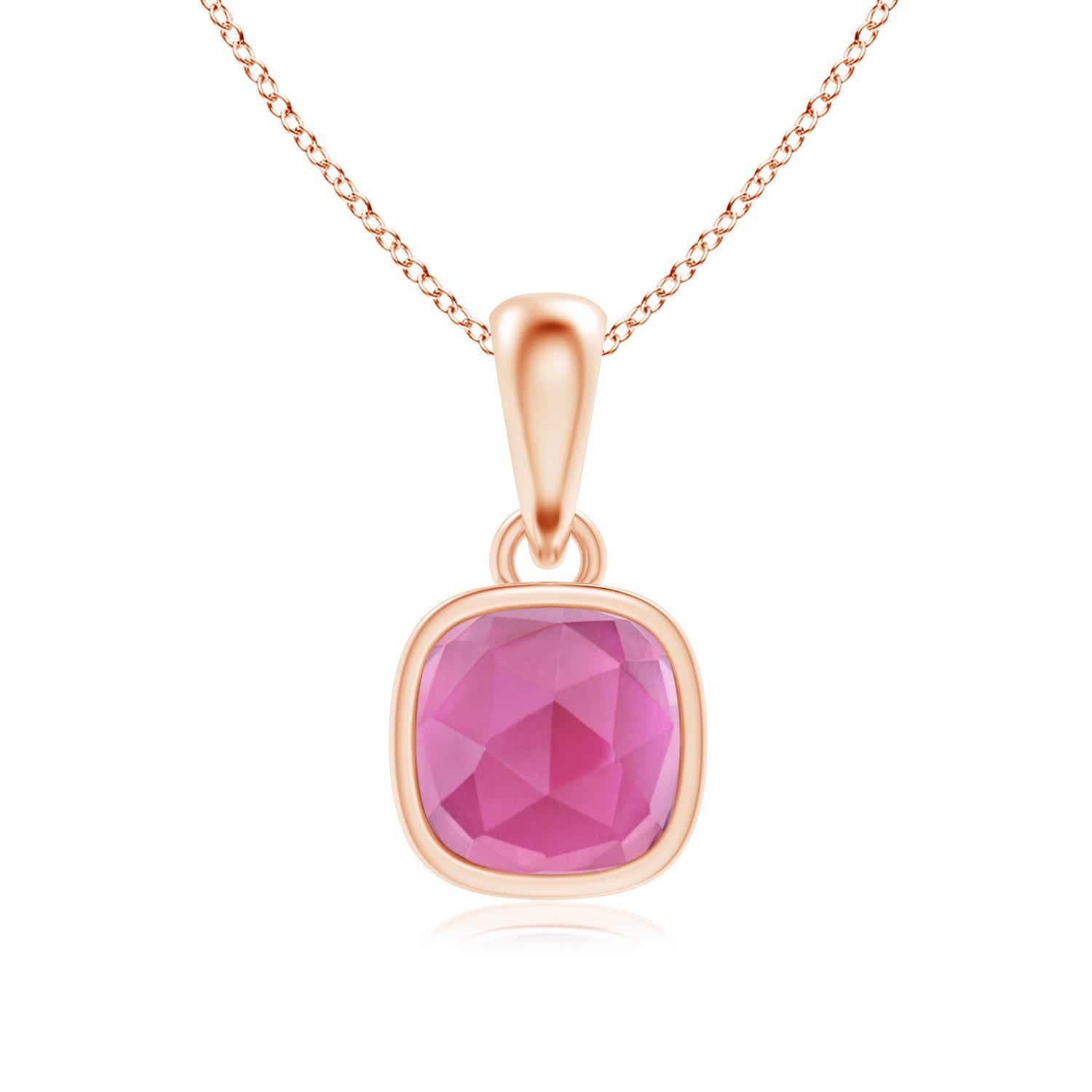 Angara Rectangular Cushion Pink Tourmaline Solitaire Pendant HJSwv