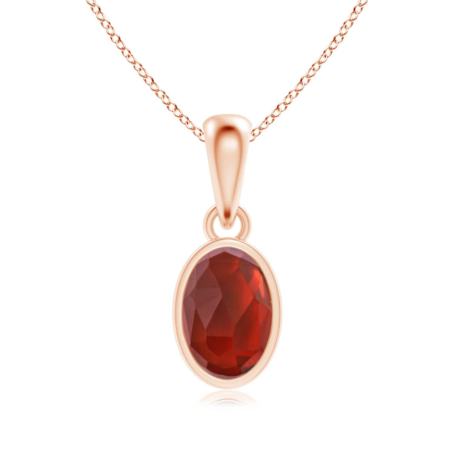 Oval Garnet Solitaire Dangle Pendant - Angara.com