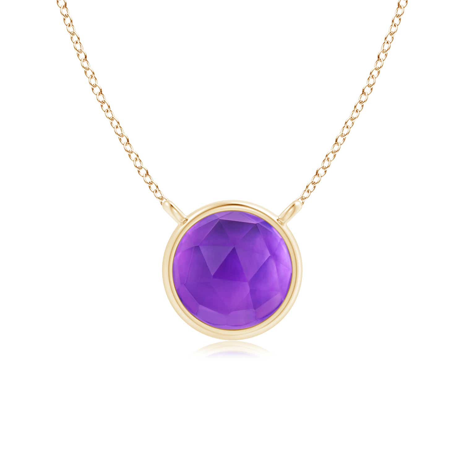 Angara Round Amethyst Necklace in Rose Gold