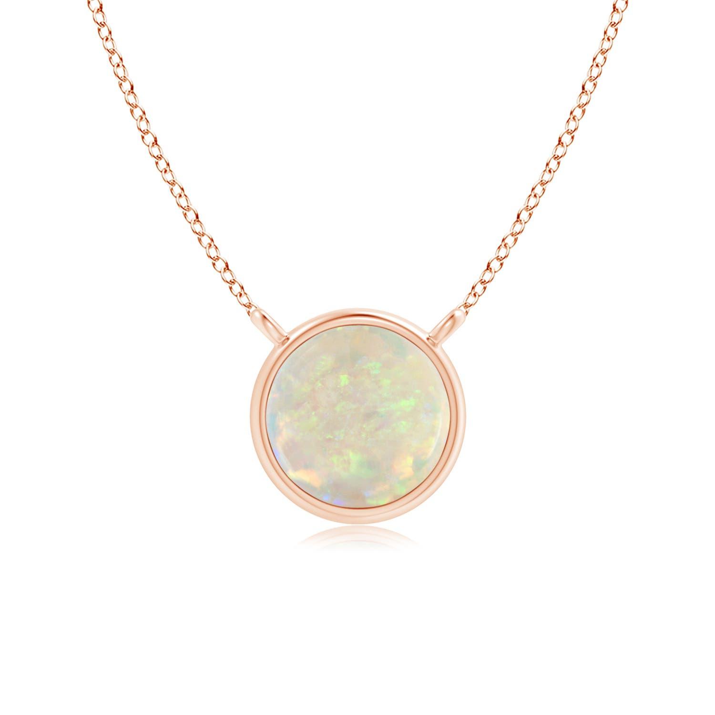 Bezel Set Round Opal Solitaire Necklace | Angara