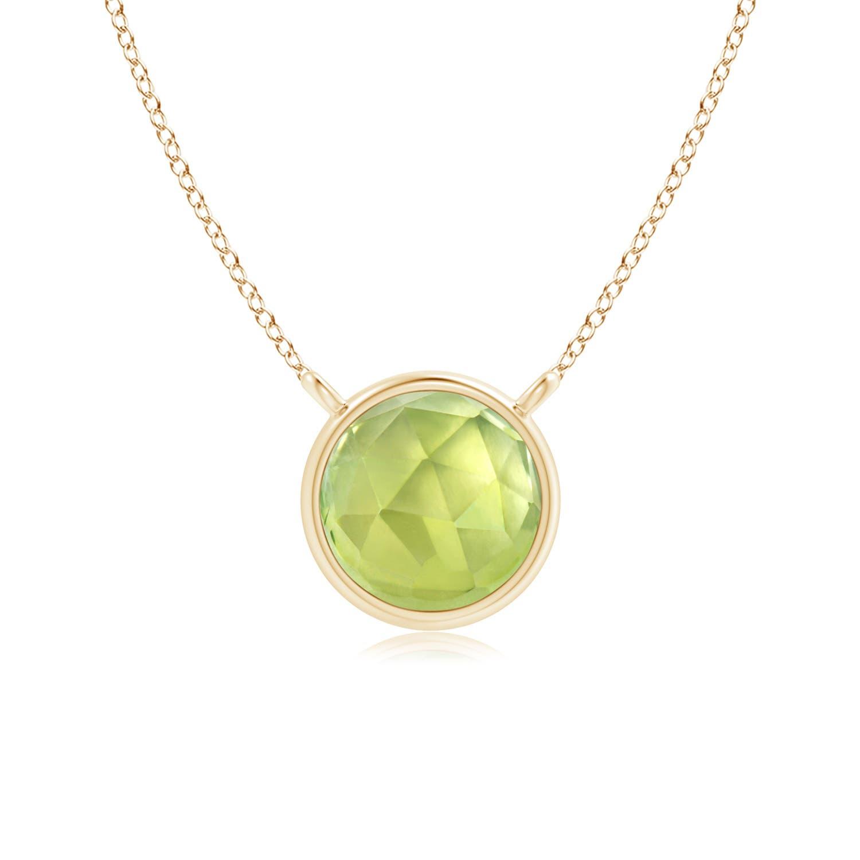 Angara Round Peridot Bezel-Set Necklace for Her in White Gold 0ku7bc