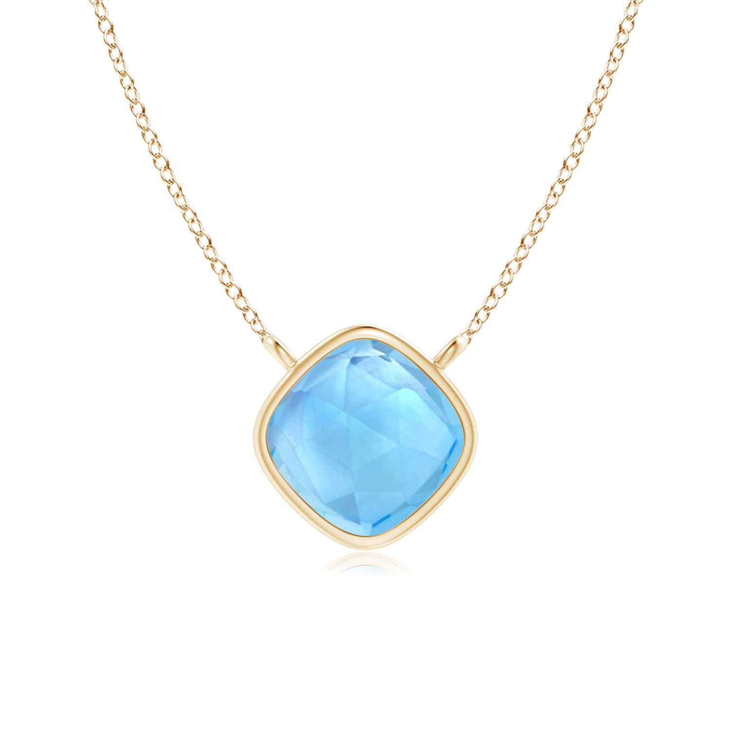 Angara Swiss Blue Topaz Necklace Pendant in Yellow Gold LAx8JH0