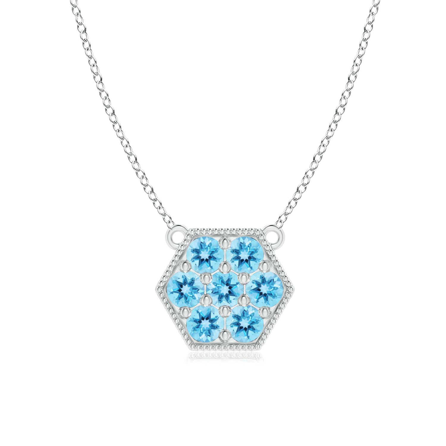Angara Natural Swiss Blue Topaz Necklace in Rose Gold V2fkxVRqi