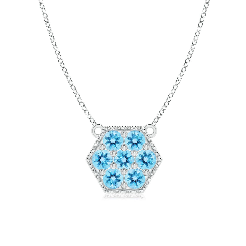 Angara Natural Swiss Blue Topaz Necklace in Rose Gold vqoGLoPGHr