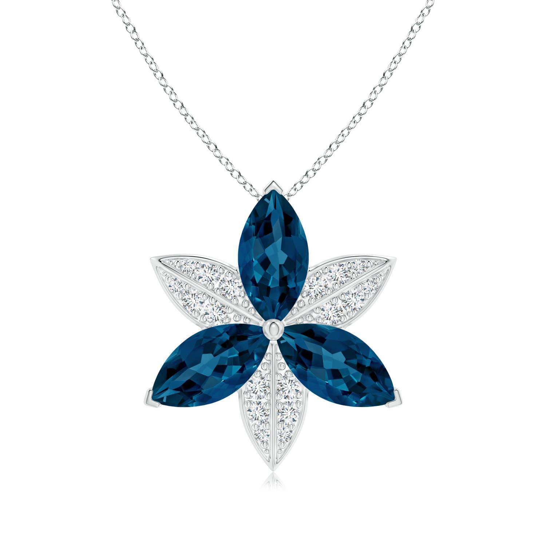 London Blue Topaz and Diamond Trillium Flower Pendant - Angara.com