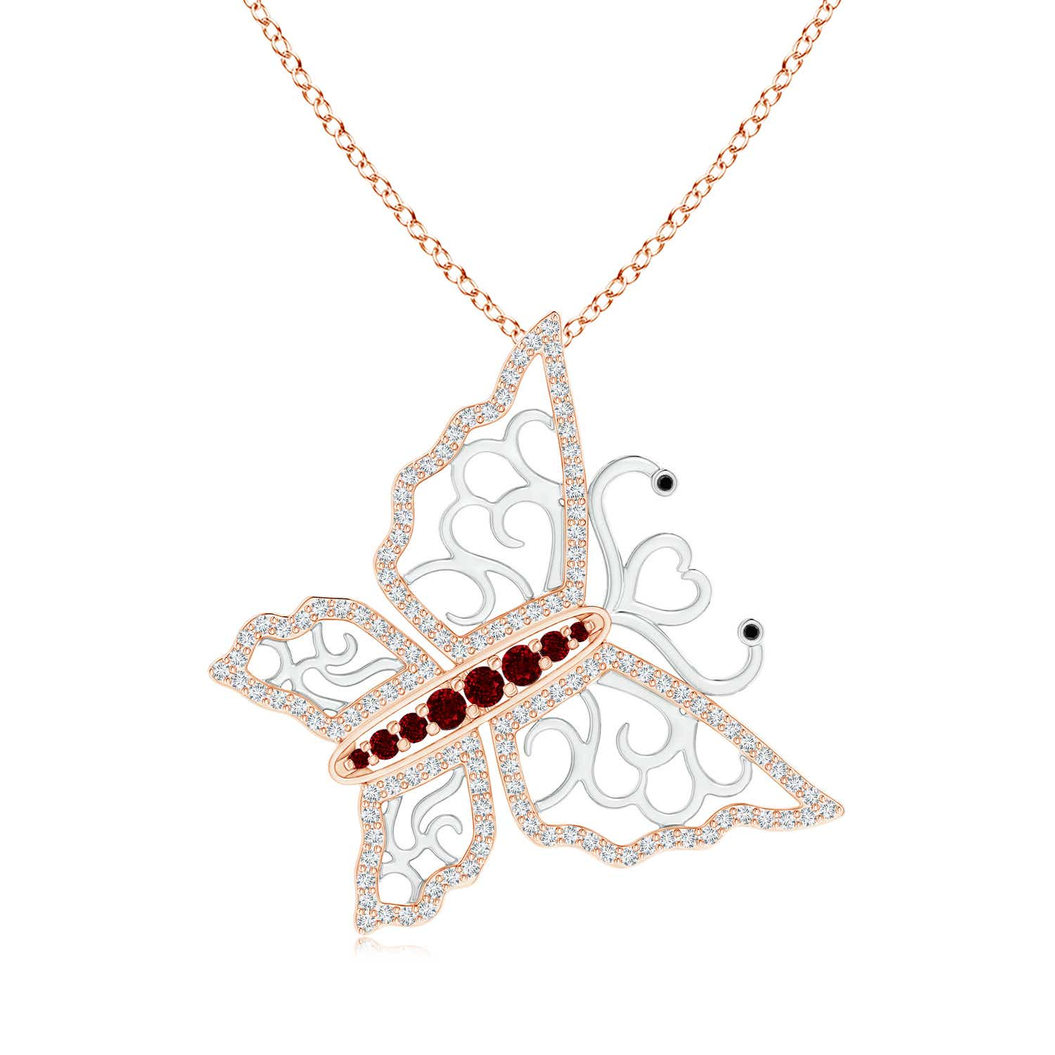 Ruby and Diamond Tilted Butterfly Pendant in Two Tone - Angara.com