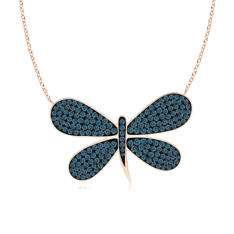 Angara Pave-Set Blue Diamond Dragonfly Necklace 2YgBBQSan