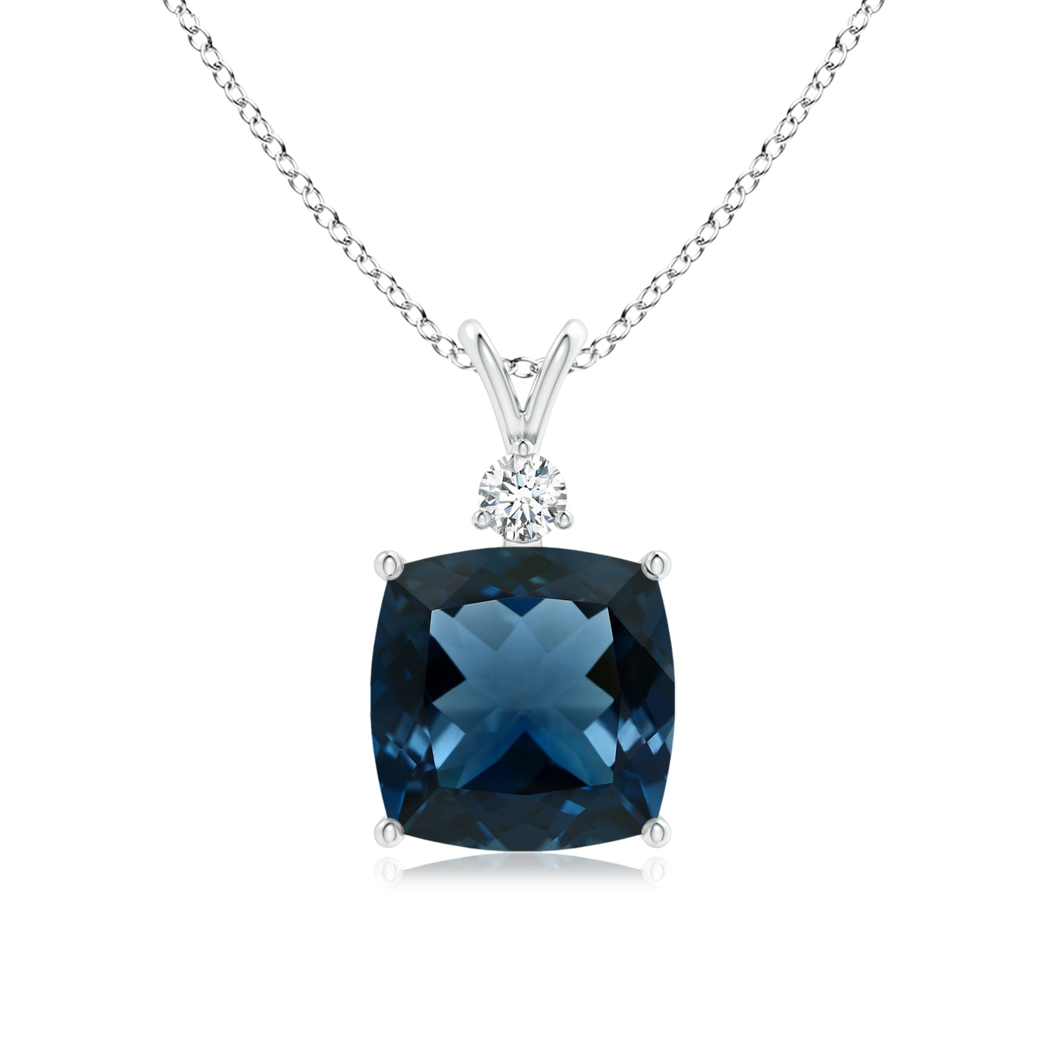 Angara Claw-Set London Blue Topaz Drop Pendant with Trio Diamonds BEGVUSs5j