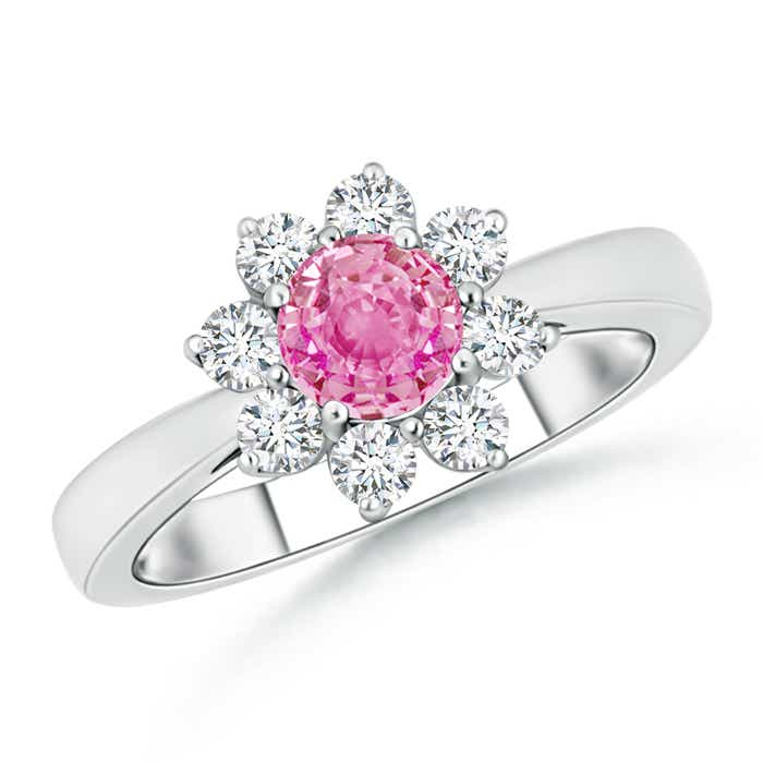 Angara 6 Prong Tapered Shank Oval Solitaire Pink Sapphire Ring in White Gold auhupJJRN