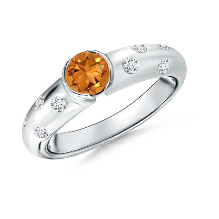 Semi Bezel Dome Citrine Ring with Diamond Accents - Angara.com