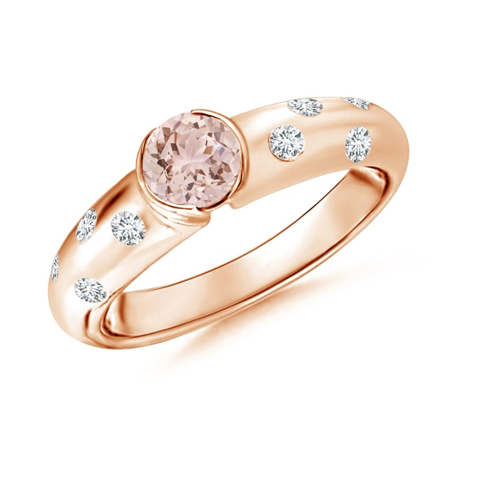 Semi Bezel Dome Morganite Ring with Diamond Accents - Angara.com