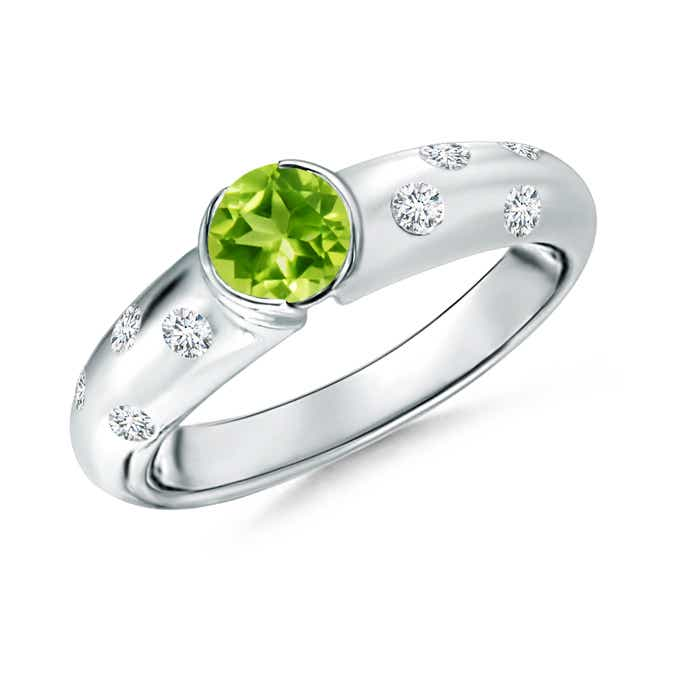 Semi Bezel Dome Peridot Ring with Diamond Accents - Angara.com