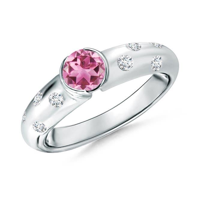 Semi Bezel Dome Pink Tourmaline Ring with Diamond Accents - Angara.com