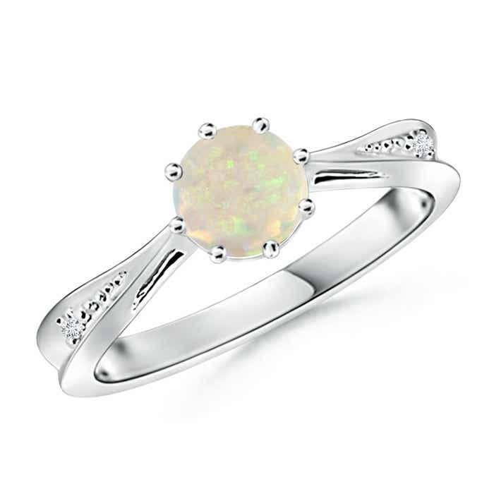 Tapered Shank Opal Solitaire Ring with Diamond Accent - Angara.com