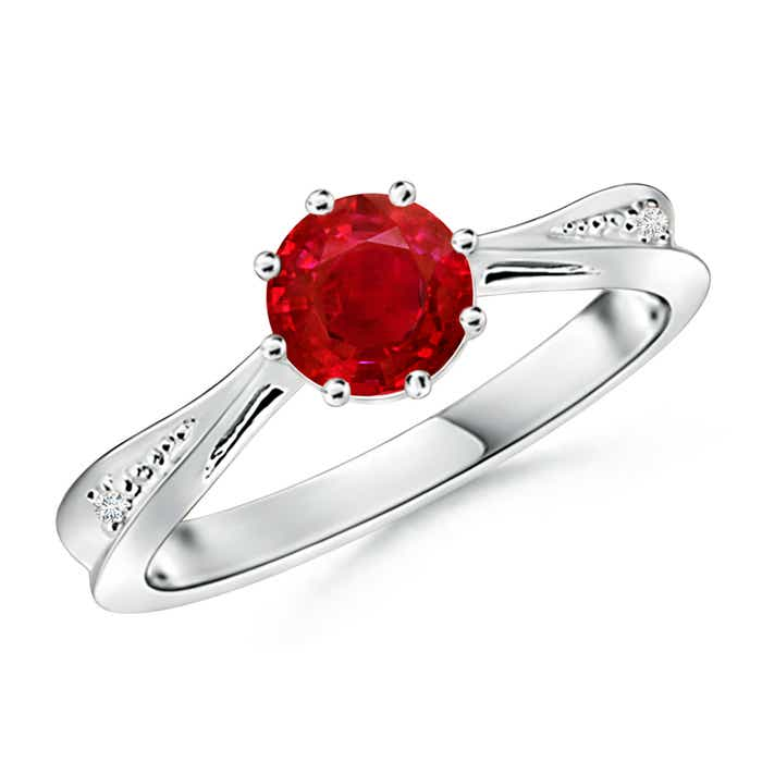 Angara Prong Set Pear Shaped Ruby Solitaire Ring with Diamond in Yellow Gold
