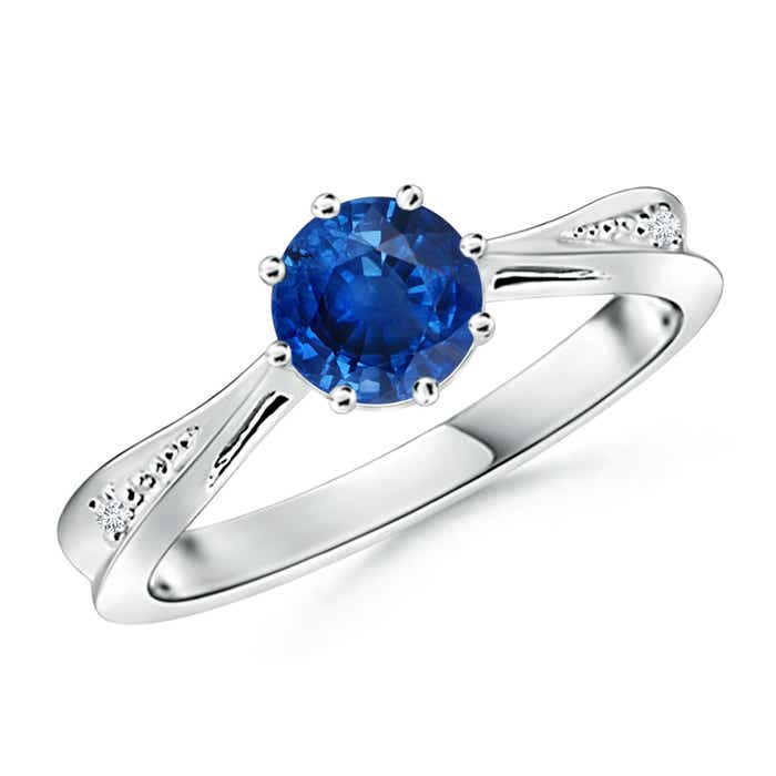 Tapered Shank Blue Sapphire Solitaire Ring with Diamond Accent - Angara.com