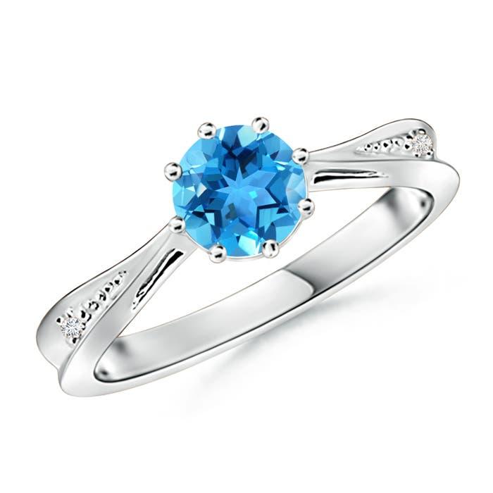 Tapered Shank Swiss Blue Topaz Solitaire Ring with Diamonds - Angara.com