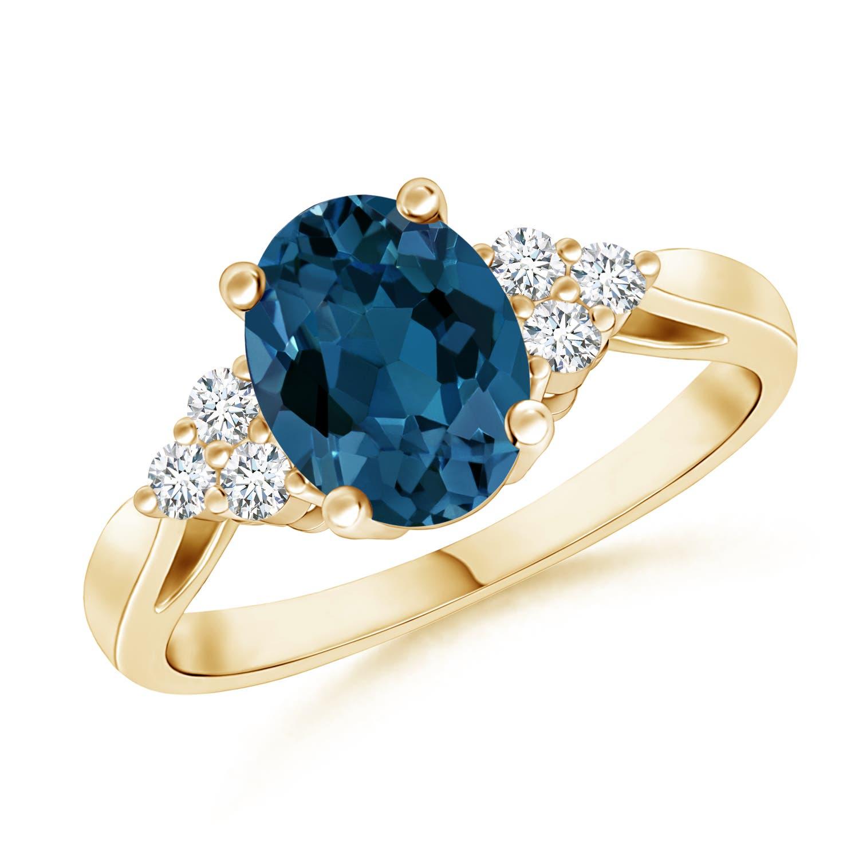 Angara Trio Diamonds and Oval London Blue Topaz Cocktail Ring in White Gold SyYKnRRQ