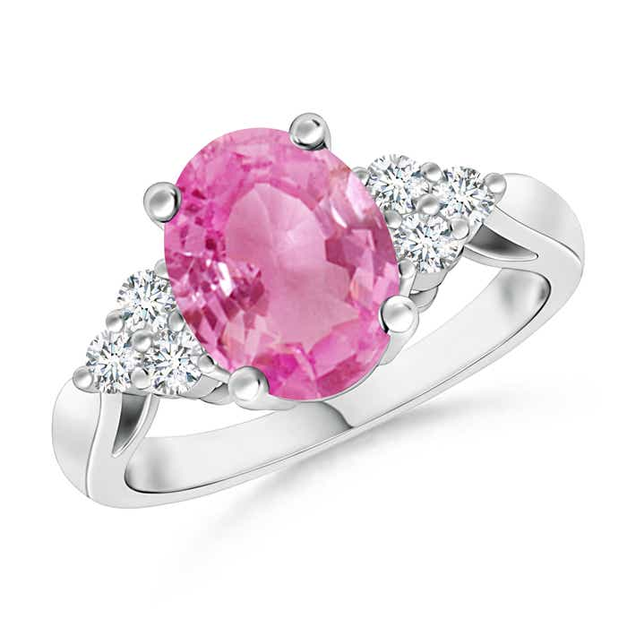 Oval Pink Sapphire Cocktail Ring With Trio Diamond Accents - Angara.com