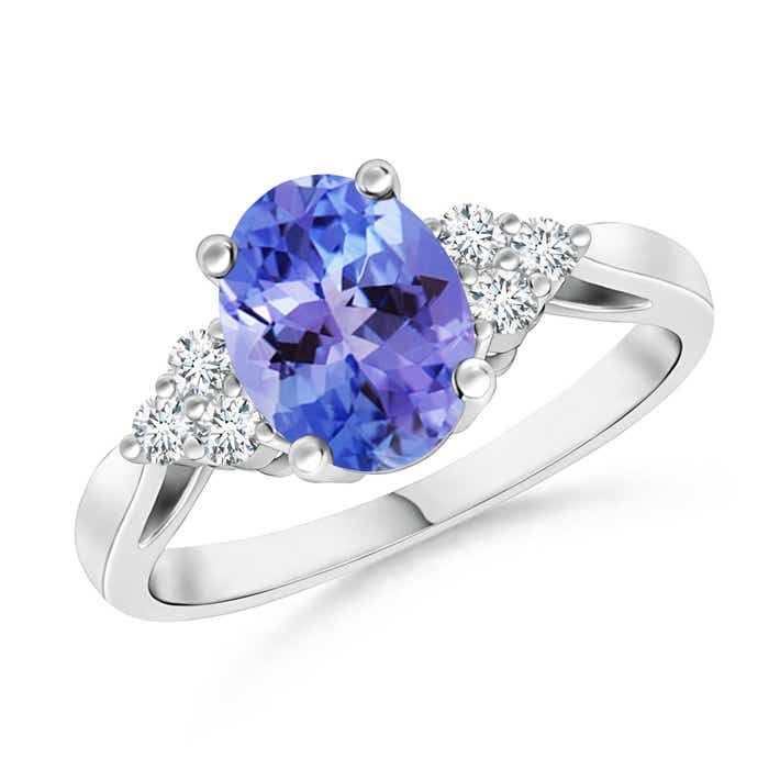 Angara Four Prong Tanzanite Solitaire Wedding Ring in White Gold GXpWK
