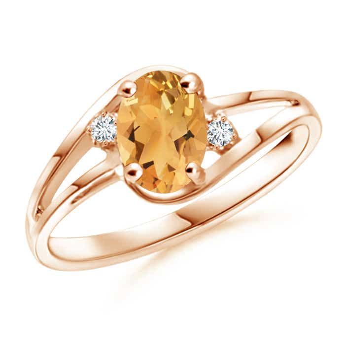 Angara Solitaire Oval Citrine Collar Ring with Diamond in 14K Yellow Gold 0Pdye5B