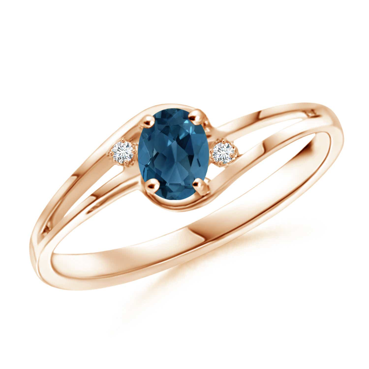Angara Natural London Blue Topaz Solitaire Ring in Yellow Gold WZGrkuU