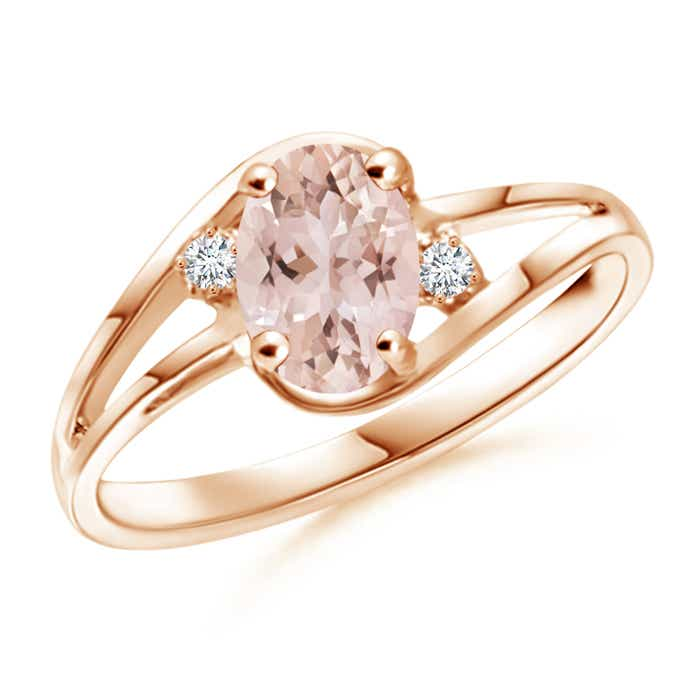 Angara Tapered Shank Solitaire Oval Morganite Ring with Diamonds uDX1B