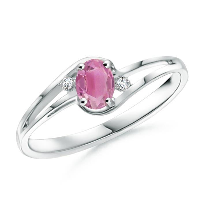 Angara 5x3mm Split Shank Pink Tourmaline Diamond Ring in Platinum BRYCkKhm8
