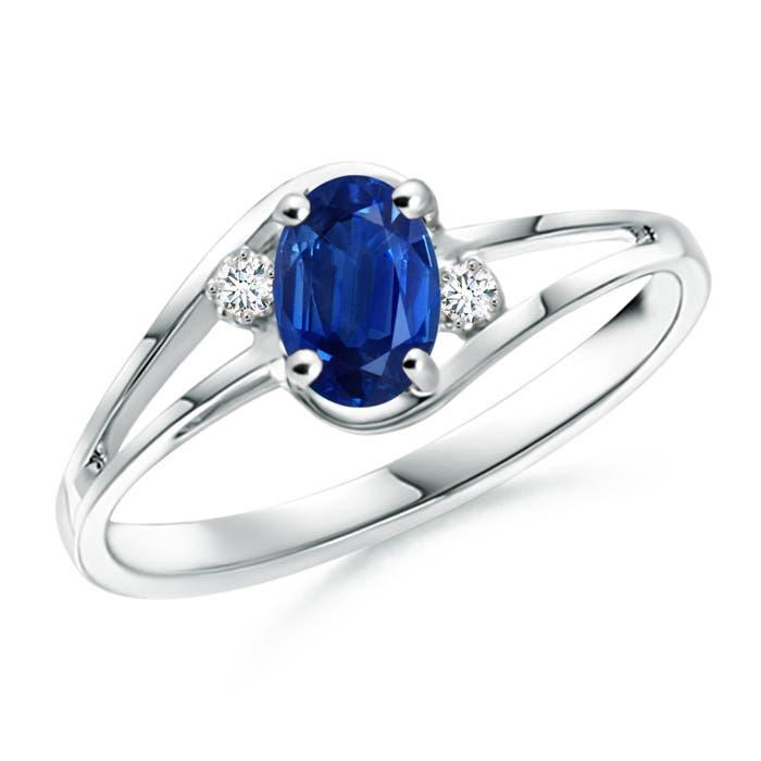 Angara Oval Blue Sapphire and Diamond Twisted Shank Ring sGcB6u89