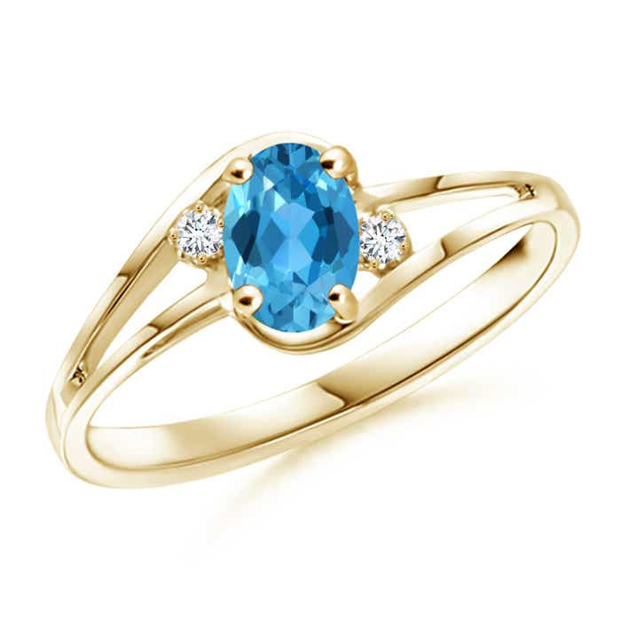 Angara Natural Swiss Blue Topaz Solitaire Ring in Yellow Gold tSMe2n