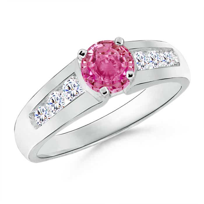 Angara Channel-Set Round Pink Sapphire and Diamond Ring in 14k White Gold RuVRWa