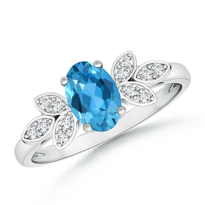 Vintage Oval Solitaire Swiss Blue Topaz Ring with Diamond Accents - Angara.com