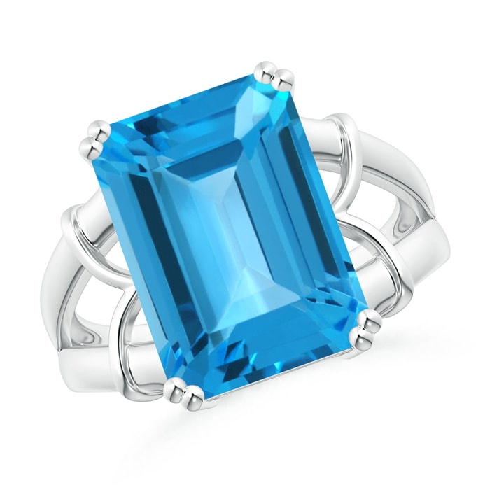 Split Shank Emerald Cut Swiss Blue Topaz Cocktail Ring - Angara.com