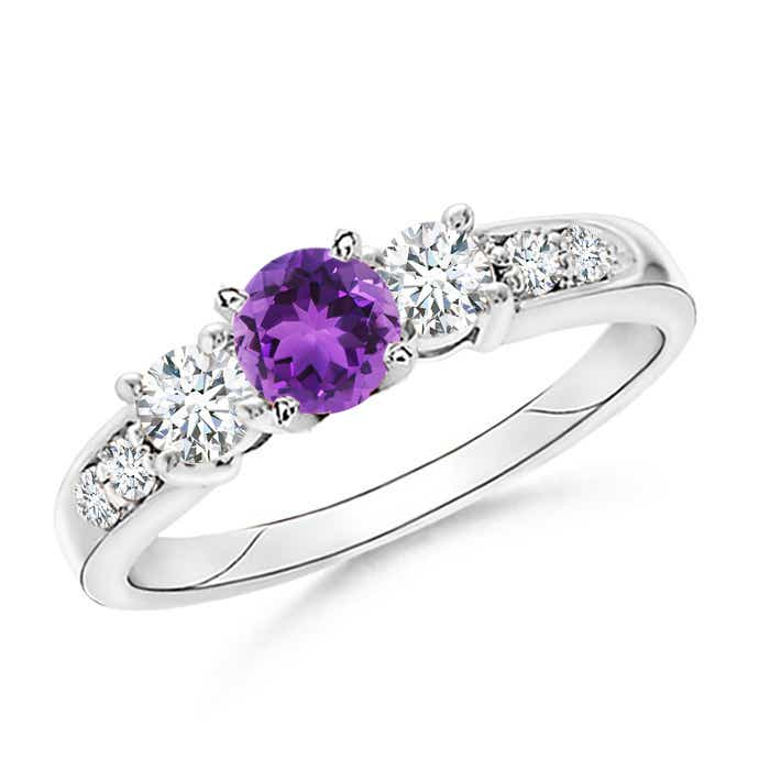 Angara Natural Amethyst and Diamond Three Stone Ring in Platinum KRcEuI